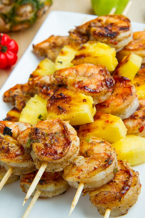 grilled, grill, shrimp, skewer, barbecue, bbq, pineapple, jerk, recipe