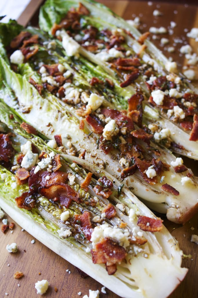grill, grilled, recipe, romaine, salad, bacon, blue cheese